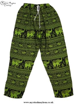 Hippy Thai Elephant Trousers Green