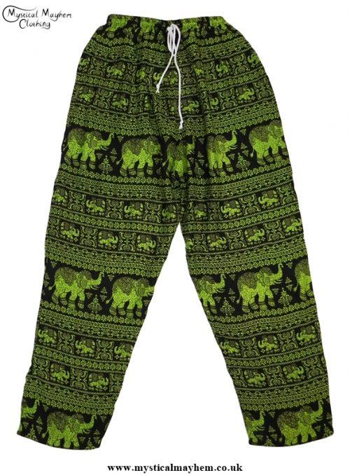 Hippy Thai Elephant Trousers Green