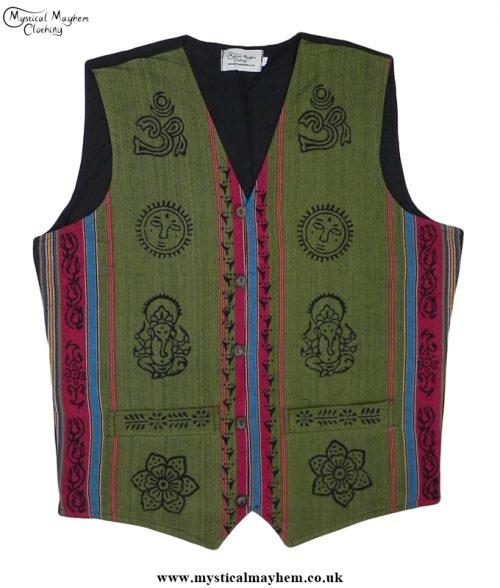 Nepalese Cotton Hippy Printed Pattern Waistcoat Green