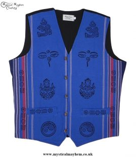 Nepalese Cotton Hippy Printed Pattern Waistcoat Light Blue