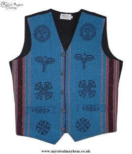 Nepalese Cotton Hippy Printed Pattern Waistcoat Turquoise