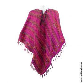 Pink-Diamond-Shape-Embroidery-Acrylic-Poncho