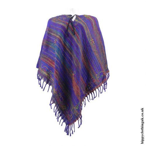 Purple-Diamond-Shape-Embroidery-Acrylic-Poncho