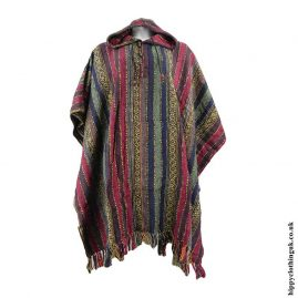 Red,-Blue-&-Green-Cotton-Nepalese-Thick-Weave-Poncho