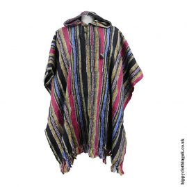 Red,-Yellow-&-Blue-Cotton-Thick-Weave-Poncho