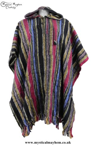 Red, Yellow, Blue Nepalese Cotton Thick Weave Hippy Festival Poncho