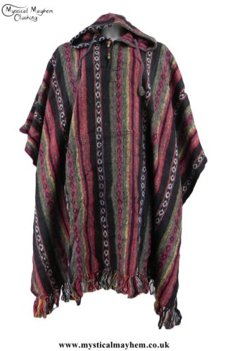 Red and Black Nepalese Cotton Thick Weave Hippy Festival Poncho