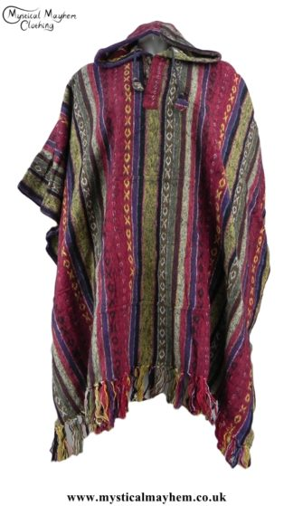 Red and Cream Nepalese Cotton Thick Weave Hippy Festival Poncho