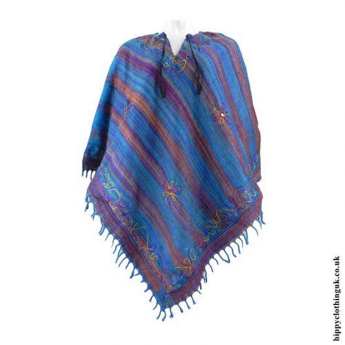 Turquoise-Diamond-Shape-Embroidery-Acrylic-Poncho