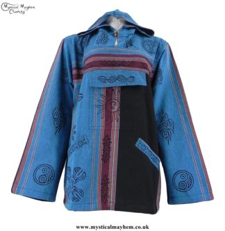 Turquoise Nepalese Cotton Hooded Hippy Top with Printed Patterns