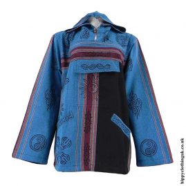 Turquoise-Printed-Patterned-Hooded-Top