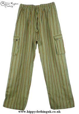 Bares Striped Cotton Nepalese Trousers Green