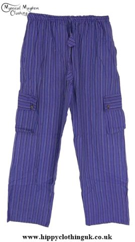 Bares Striped Cotton Nepalese Trousers Purple