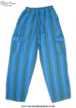 Bares Striped Cotton Nepalese Trousers Turquoise Blue