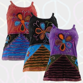 Flower Embroidery Hippy Vest Top