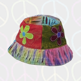 Patchwork Embroidery Flower Floppy Hat