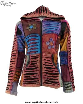Multicoloured Ripped Look Patchwork Hooded Hippy Jacket