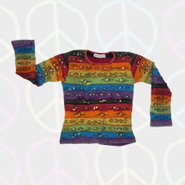 Overstitched Rainbow Hippy Long Sleeve T-Shirt