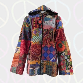 Thin Cotton Lined Funky Patchwork Hippy Jacket
