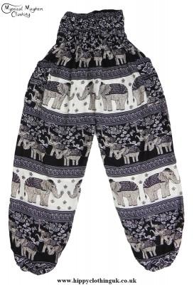 Black Hippy Style Harem Genie Trousers with Elephant Print