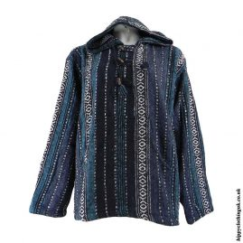 Blue-Mix-Thick-Weave-Hooded-Jacket