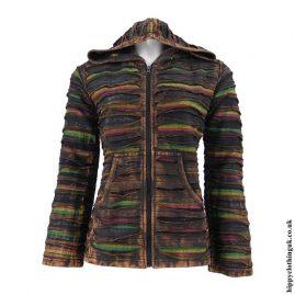 Brown-Ripped-Look-Hooded-Jacket