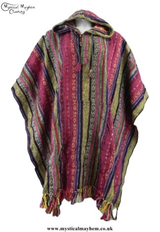 Cream, Pink, Red Nepalese Cotton Thick Weave Hippy Festival Poncho