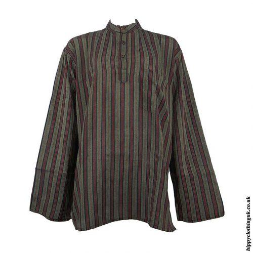 Dark-Green-Collarless-Grandad-Shirt