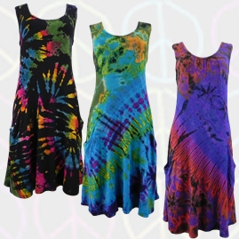 Stretchy Tie Dye Hippy Dress