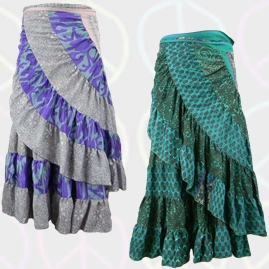 Recycled Sari Gypsy Wrap Skirts