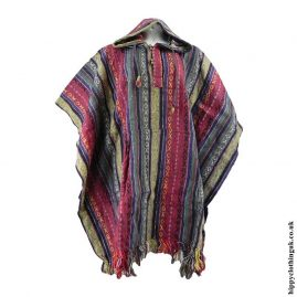Red-&-Cream-Cotton-Thick-Weave-Poncho