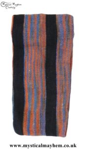 Standard Stretchy Knitted Cotton Hippy Head band Orange and Blue