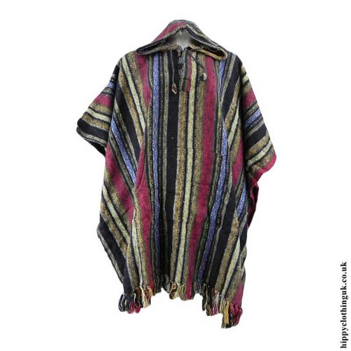Yellow,-Red-&-Blue-Cotton-Thick-Weave-Poncho