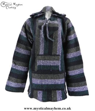 Forest Green Mexican Jerga Baja Hooded Hippy Festival Top