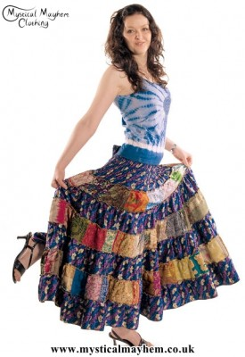 Multicoloured Recycled Sari Two in One Skirt Example