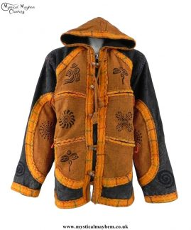 Over-Dyed Hooded Cotton Felt Trim Hippy Festival Jackets - Charcoal and Orange