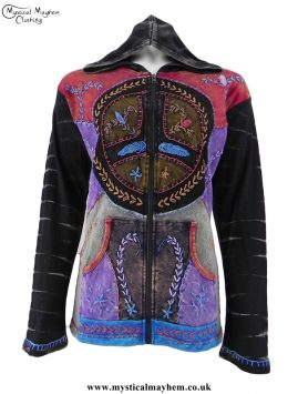 Black Embroidery Patchwork Peace Sign Hippy Jacket