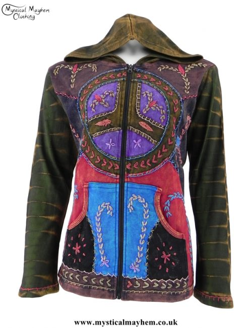 Embroidery Patchwork Peace Sign Hippy Jacket Olive