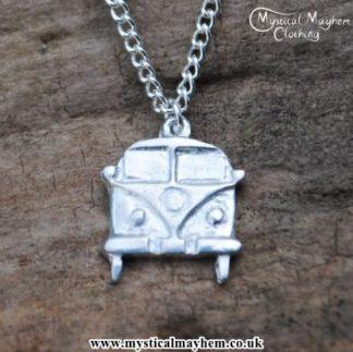 Handmade English Pewter Hippy Camper Van Pendant, Necklace