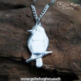 Handmade English Pewter Robin Pendant, Necklace