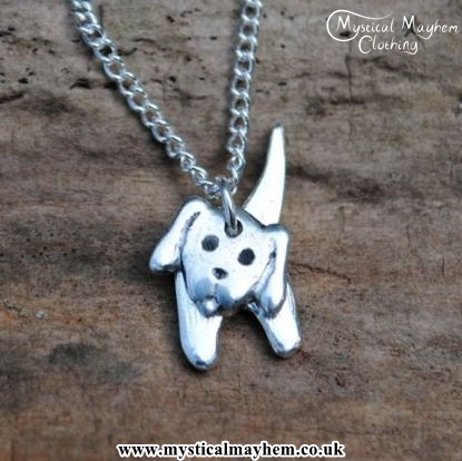 Handmade English Pewter Two Part Dog Pendant, Necklace