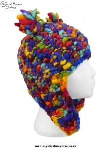 Multicoloured Rainbow Wool Bear Over the Ear Hat