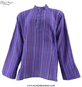 Neaplese Cotton Striped Grandad Shirt Purple