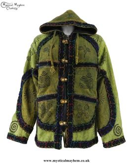 Over-Dyed Hooded Cotton Felt Trim Hippy Festival Jackets - Green