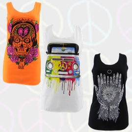Printed Hippy Vest Tops