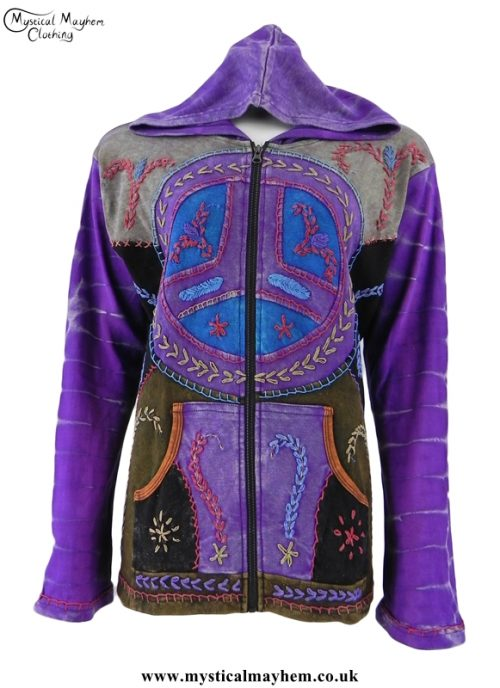 Purple Embroidery Patchwork Peace Sign Hippy Jacket