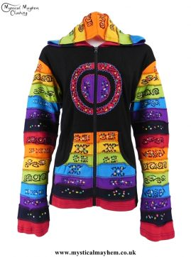 Black Circle Pattern Rainbow Hooded Hippy Festival Jacket