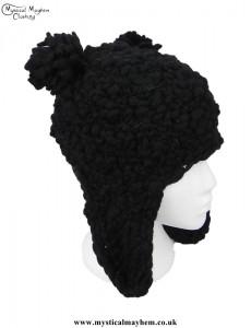 Black Wool Bear Over the Ear Hat
