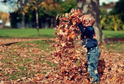 Happy Mabon! Autumn Equinox - Playing in leaves