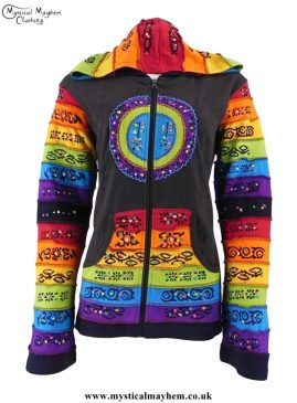 Brown Circle Pattern Rainbow Hooded Hippy Festival Jacket